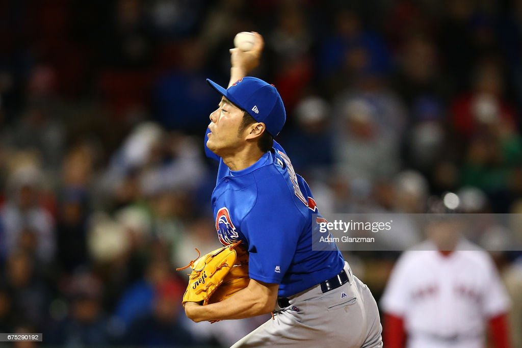 Koji Uehara #19 the Chicago Cubs delivers in the eighth inning of a game against the Boston Red Sox at Fenway Park on April 30, 2017 in Boston, Massachusetts.
