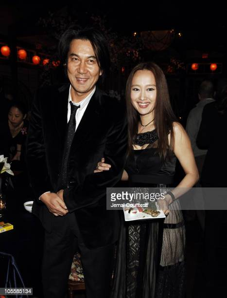 Koji Yakusho and Youki Kodoh during 'Memoirs of a Geisha' New York City Premiere After Party at Central Park Boathouse in New York City New York...