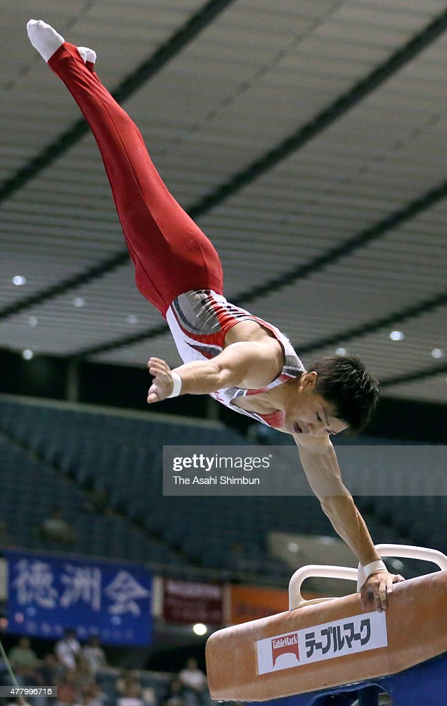 <a gi-track='captionPersonalityLinkClicked' href=/galleries/search?phrase=Koji+Yamamuro&family=editorial&specificpeople=5608587 ng-click='$event.stopPropagation()'>Koji Yamamuro</a> competes in the Men's Pommel Horse during day one of the All Japan Artistic Gymnastics Apparatus Championships at Yoyogi National Gymnasium on June 20, 2015 in Tokyo, Japan.