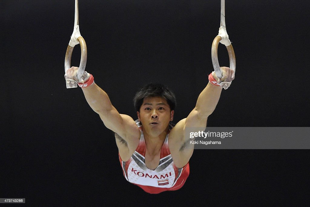 <a gi-track='captionPersonalityLinkClicked' href=/galleries/search?phrase=Koji+Yamamuro&family=editorial&specificpeople=5608587 ng-click='$event.stopPropagation()'>Koji Yamamuro</a> competes on the rings during the Artistic Gymnastics NHK Trophy at Yoyogi National Gymnasium on May 17, 2015 in Tokyo, Japan.