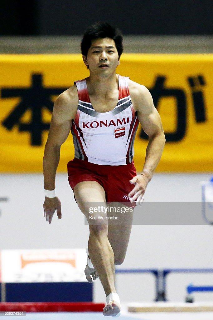 Koji Yamamuro competes on the vaulting horse during the All-Japan Gymnastic Appratus Championshipsat Yoyogi National Gymnasium on June 5, 2016 in Tokyo, Japan.