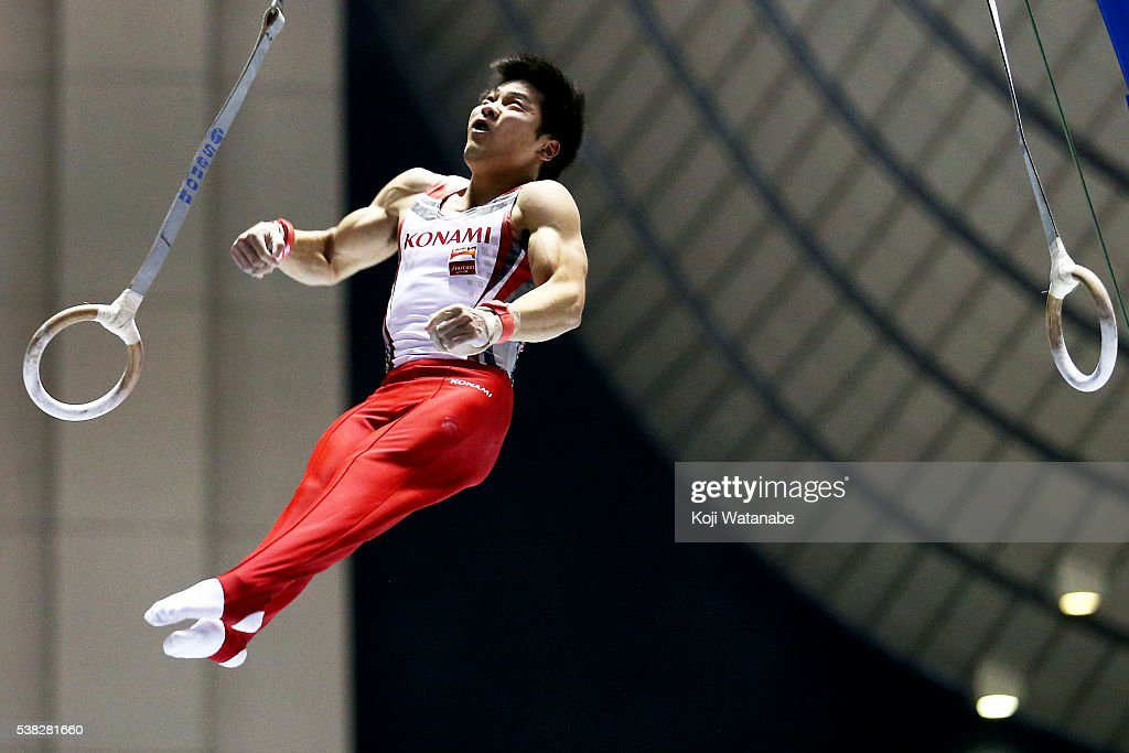 Koji Yamamuro with the hoop during the All-Japan Gymnastic Appratus Championshipsat Yoyogi National Gymnasium on June 5, 2016 in Tokyo, Japan.