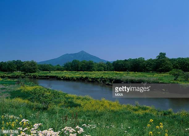 Kokai River and Mount Tsukuba, Shimotsuma, Ibraki, Japan