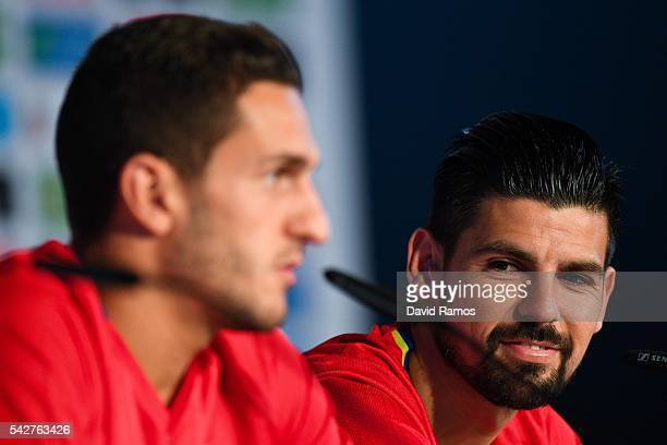 Koke and Manuel Agudo 'Nolito' of Spain face the media during a training session at Complexe Sportif Marcel Gaillard on June 24 2016 in La Rochelle...