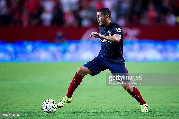 Koke of Atletico de Madrid controls the ball during the La Liga match between Sevilla FC and Club Atletico de Madrid at Estadio Ramon Sanchez Pizjuan...