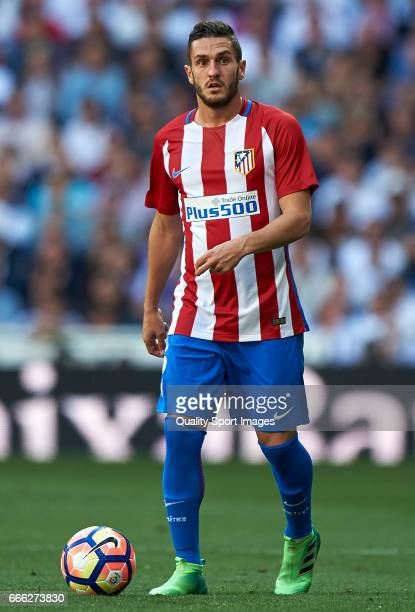 Koke of Atletico de Madrid in action during the La Liga match between Real Madrid CF and Atletico de Madrid at Estadio Santiago Bernabeu on April 8...