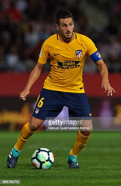 Koke of Atletico de Madrid in action during the La Liga match between Girona and Atletico Madrid at Municipal de Montilivi Stadium on August 19 2017...