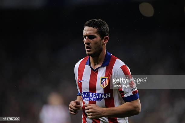 Koke of Atletico de Madrid looks on during the Copa del Rey Round of 16 Second leg match between Real Madrid and Atletico de Madrid at Estadio...