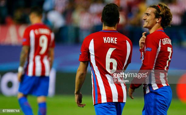 Koke of Atletico Madrid and Antoine Griezmann of Atletico Madrid looks on during the UEFA Champions League Quarter Final first leg match between Club...