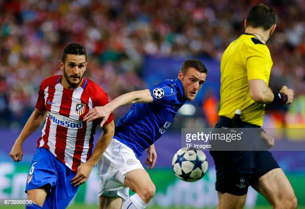 Koke of Atletico Madrid and Islam Slimani of Leicester City battle for the ball during the UEFA Champions League Quarter Final first leg match...