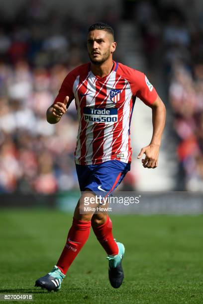 Koke of Atletico Madrid in action during a Pre Season Friendly between Brighton Hove Albion and Atletico Madrid at Amex Stadium on August 6 2017 in...