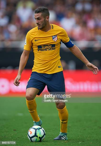 Koke of Atletico Madrid in action during the La Liga match between Valencia and Atletico Madrid at on September 9 2017 in Valencia