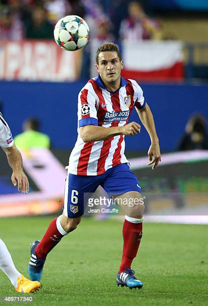 Koke of Atletico Madrid in action during the UEFA Champions League Quarter Final First Leg match between Atletico Madrid and Real Madrid at Vicente...