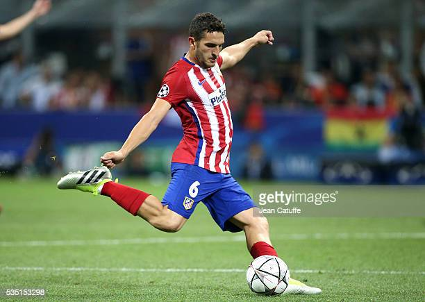 Koke of Atletico Madrid in action during the UEFA Champions League final between Real Madrid and Club Atletico Madrid at Stadio Giuseppe Meazza San...