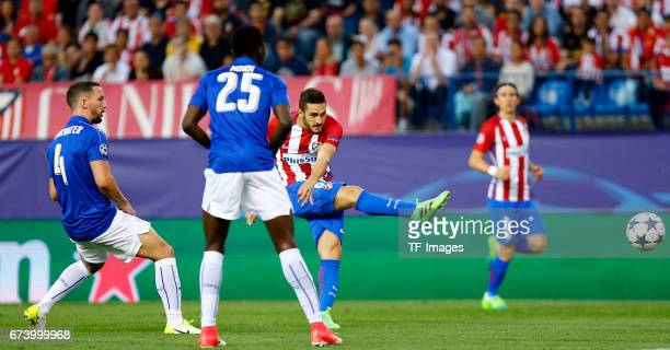 Koke of Atletico Madrid in action during the UEFA Champions League Quarter Final first leg match between Club Atletico de Madrid and Leicester City...