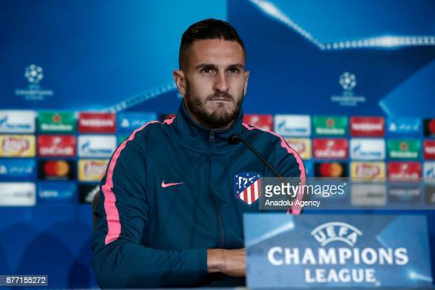 Koke of Atletico Madrid is seen during a prematch press conference ahead of UEFA Champions League Group C match between Atletico Madrid and AS Roma...