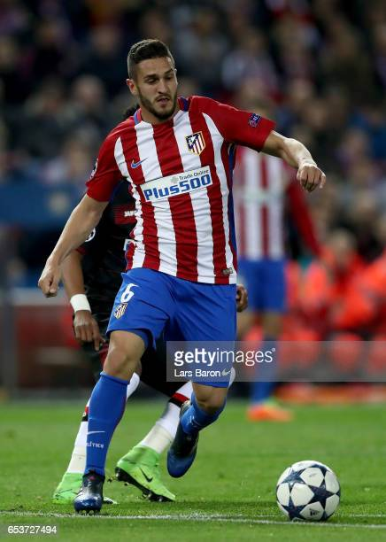 Koke of Atletico runs with the ball during the UEFA Champions League Round of 16 second leg match between Club Atletico de Madrid and Bayer...