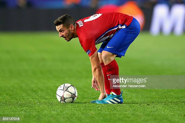 Koke of Atltetico looks on during the UEFA Champions League semi final first leg match between Club Atletico de Madrid and FC Bayern Muenchen at...