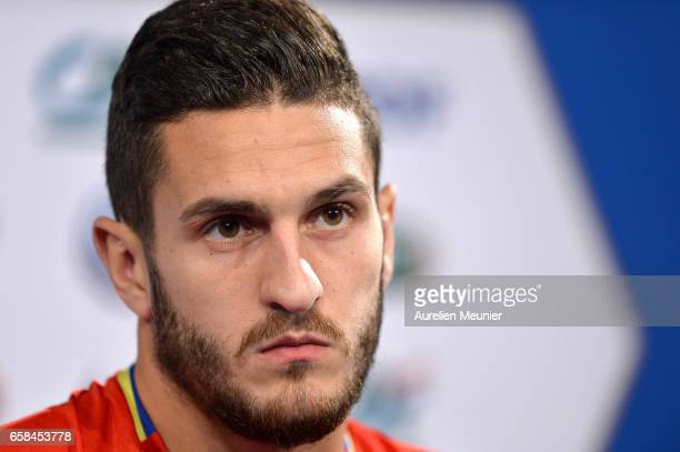 Koke of Spain attends the press conference before the match between France and Spain at the Stade de France on March 27 2017 in Paris France
