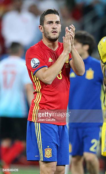 Koke of Spain celebrates the victory following the UEFA EURO 2016 Group D match between Spain and Turkey at Allianz Riviera Stadium on June 17 2016...