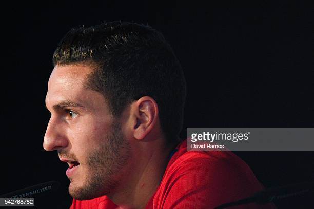 Koke of Spain faces the media during a press conference at Complexe Sportif Marcel Gaillard on June 24 2016 in La Rochelle France