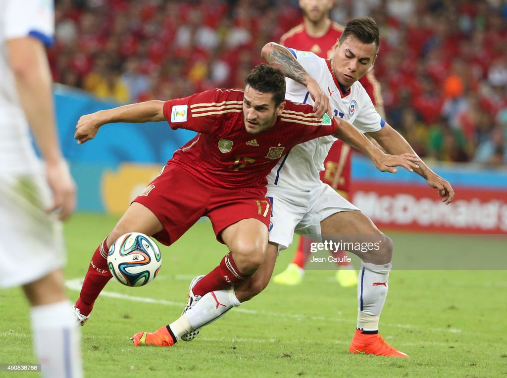 Koke of Spain in action during the 2014 FIFA World Cup Brazil Group B match between Spain and Chile at Estadio Maracana on June 18, 2014 in Rio de Janeiro, Brazil.