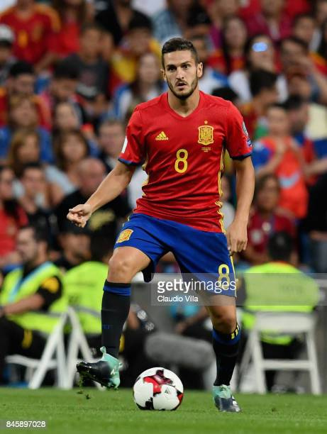Koke of Spain in action during the FIFA 2018 World Cup Qualifier between Spain and Italy at Estadio Santiago Bernabeu on September 2 2017 in Madrid...