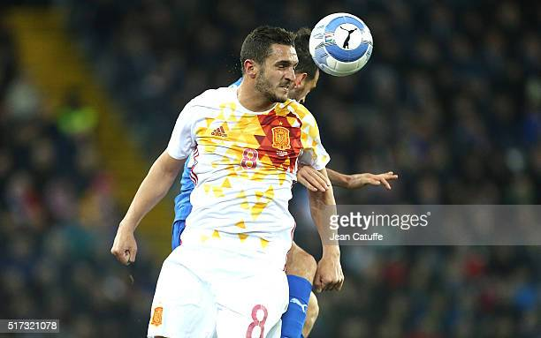Koke of Spain in action during the international friendly match between Italy and Spain at Stadio Friuli on March 24 2016 in Udine Italy