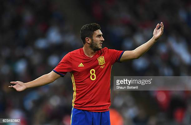 Koke of Spain reacts during the international friendly match between England and Spain at Wembley Stadium on November 15 2016 in London England
