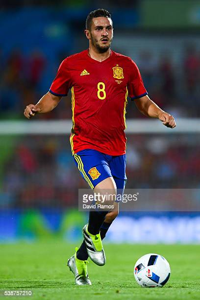 Koke of Spain runs with the ball during an international friendly match between Spain and Georgia at Alfonso Perez stadium on June 7 2016 in Getafe...