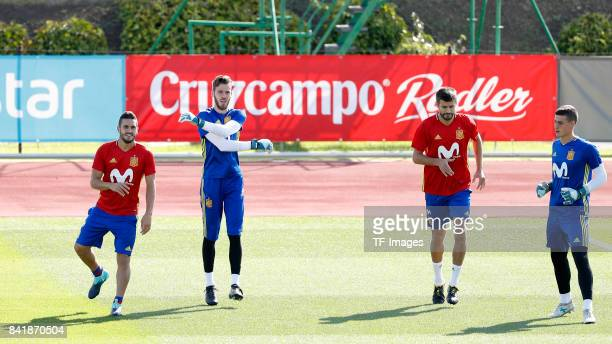 Koke Resurreccion of Spain David De Gea of Spain Gerard Piqué of Spain and Kepa of Spain looks on during a training session on August 31 2017 in...