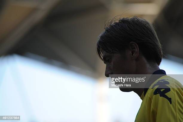 Koki Mizuno of JEF United Chiba looks on during the JLeague Division2 match between JEF United Chiba and Efime FC at Fukuda Denshi Arena on October 4...