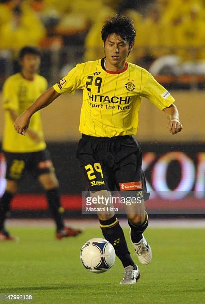 Koki Mizuno of Kashiwa Reysol in action during the JLeague match between Kashiwa Reysol and Nagoya Grampus at the National Stadium on July 7 2012 in...