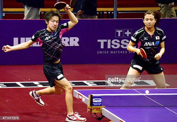 Koki Niwa and Sayaka Hirano of Japan compete in the Mixed Doubles First Round match on day two of the 2015 World Table Tennis Championships on April...