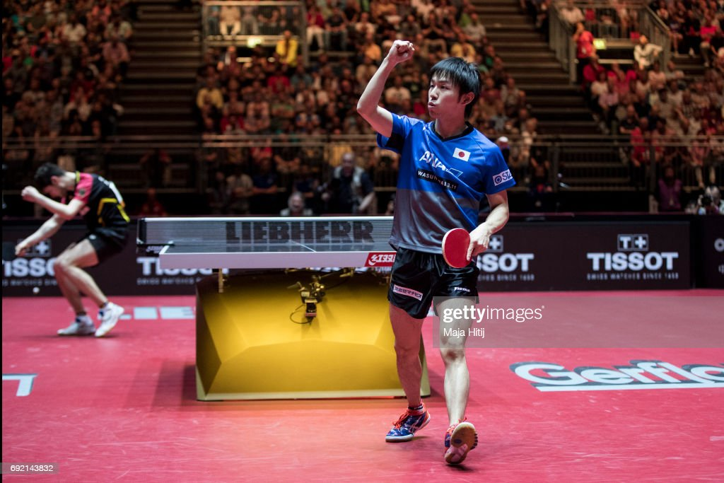 Koki Niwa in celebrates during eight-final of Table Tennis World Championship at Messe Duesseldorf on June 4, 2017 in Dusseldorf, Germany.