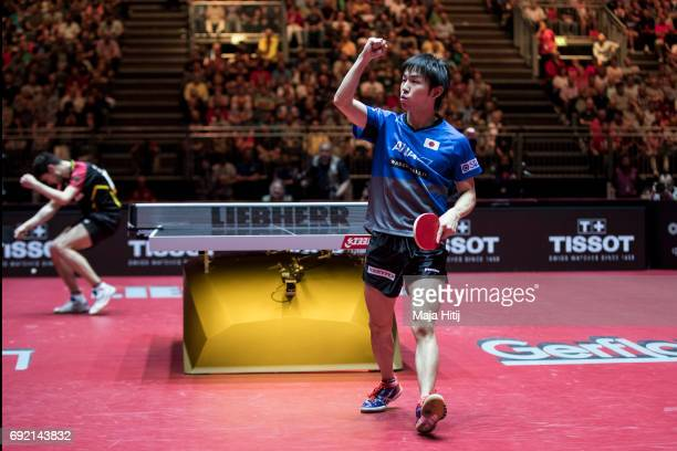 Koki Niwa in celebrates during eightfinal of Table Tennis World Championship at Messe Duesseldorf on June 4 2017 in Dusseldorf Germany