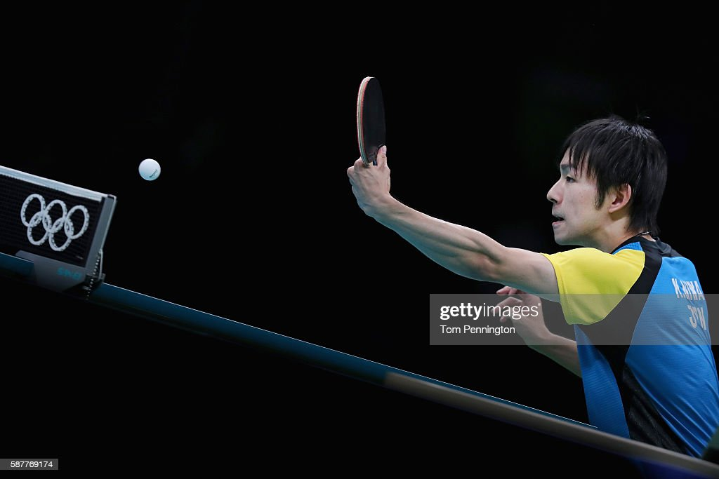 Koki Niwa of Japan competes against Jike Zhang of China during the Men's Singles Quarterfinal 4 Table Tennis on Day 4 of the Rio 2016 Olympic Games at the Riocentro Pavilion 3 on August 9, 2016 in Rio de Janeiro, Brazil.