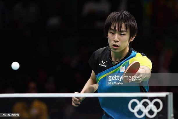 Koki Niwa of Japan competes during the Men's Table Tennis gold medal match against Long Ma of China at Riocentro Pavilion 3 on Day 12 of the Rio 2016...
