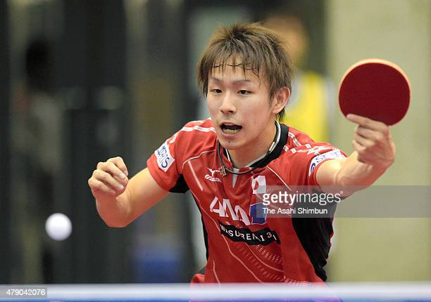 Koki Niwa of Japan competes in the Men's Singles first round against Eugene Wang of Canada during day three of the ITTF World Tour Super Series Japan...