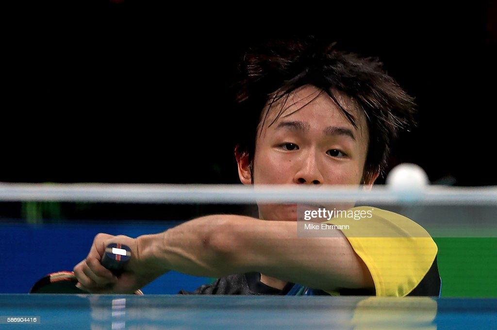 Koki Niwa of Japan plays a Men's Singles second round match against Segun Toriola of Nigeria on Day 2 of the Rio 2016 Olympic Games at Riocentro - Pavilion 3 on August 7, 2016 in Rio de Janeiro, Brazil.