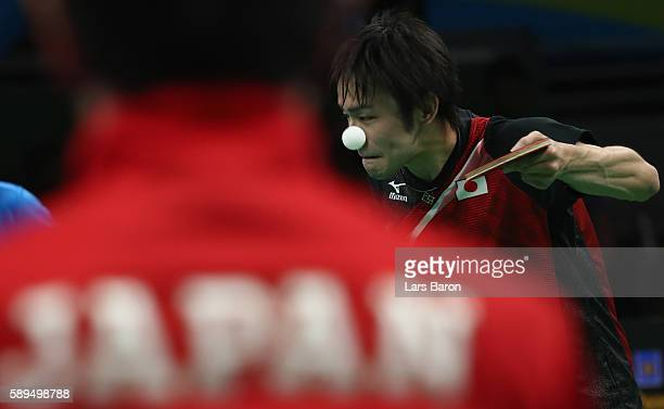 Koki Niwa of Japan serves during the Table Tennis Men's Quarterfinal Match between Japan and Hong Kong on August 14 2016 in Rio de Janeiro Brazil