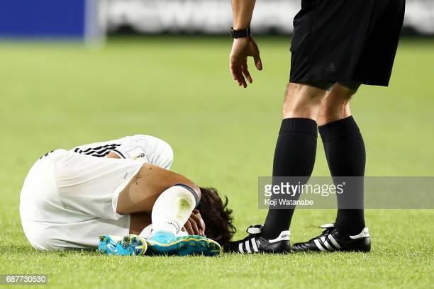 Koki Ogawa of Japan Complain of pain during the FIFA U20 World Cup Korea Republic 2017 group D match between Uruguay and Japan at Suwon World Cup...