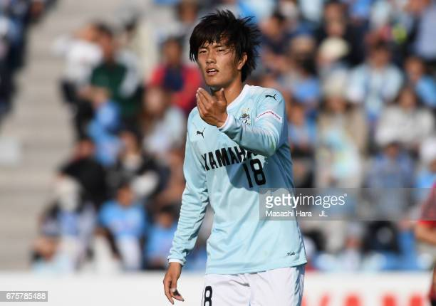 Koki Ogawa of Jubilo Iwata in action during the JLeague J1 match between Jubilo Iwata and Consadole Sapporo at Yamaha Stadium on April 30 2017 in...