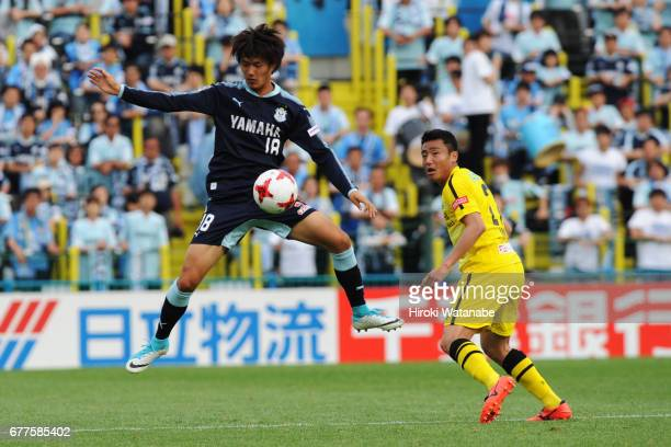 Koki Ogawa of Jubilo Iwata in action during the JLeague Levain Cup Group A match between Kashiwa Reysol and Jubilo Iwata at Hitachi Kashiwa Soccer...