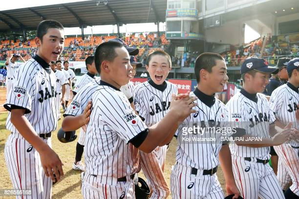 Koki Yamaguchi of Japan celebrates after their 65 victoty hitting RBI tworun double in the bottom half of the sixth inning during the WBSC U12...