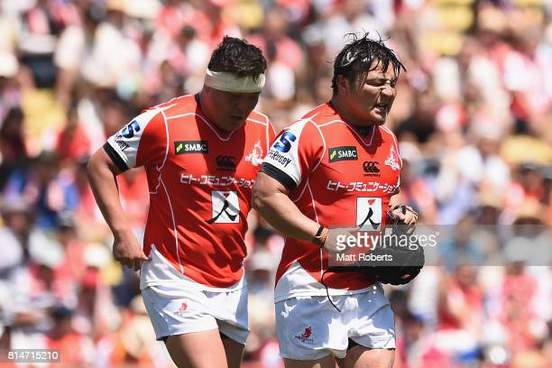 Koki Yamamoto and Takeshi Hino of the Sunwolves leave the field during the Super Rugby match between the Sunwolves and the Blues at Prince Chichibu...