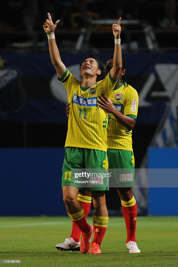 Koki Yonekura #11 of JEF United Chiba celebrates the first goal during the J.League second division match between JEF United Chiba and Gamba Osaka at Fukuda Denshi Arena on July 7, 2013 in Chiba, Japan.