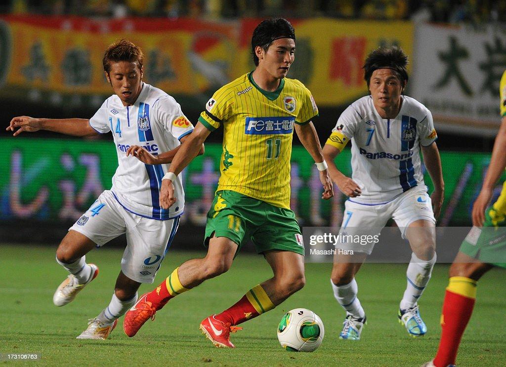 Koki Yonekura #11 of JEF United Chiba in action during the J.League second division match between JEF United Chiba and Gamba Osaka at Fukuda Denshi Arena on July 7, 2013 in Chiba, Japan.