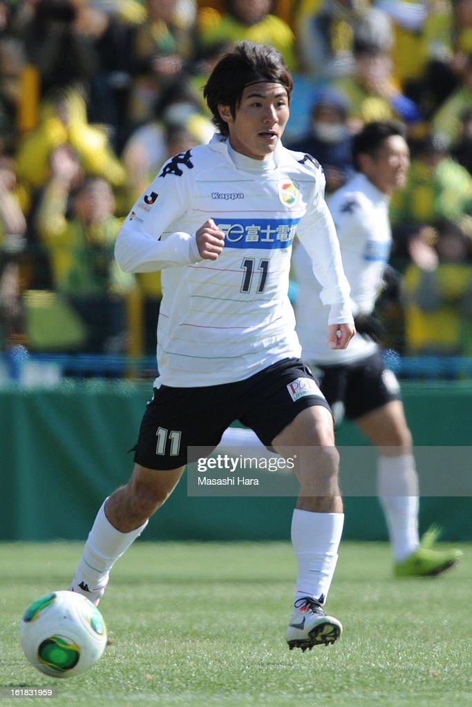 Koki Yonekura #11 of JEF United Chiba in action during the pre season friendly between Kashiwa Reysol and JEF United Chiba at Hitachi Kashiwa Soccer Stadium on February 17, 2013 in Kashiwa, Japan.