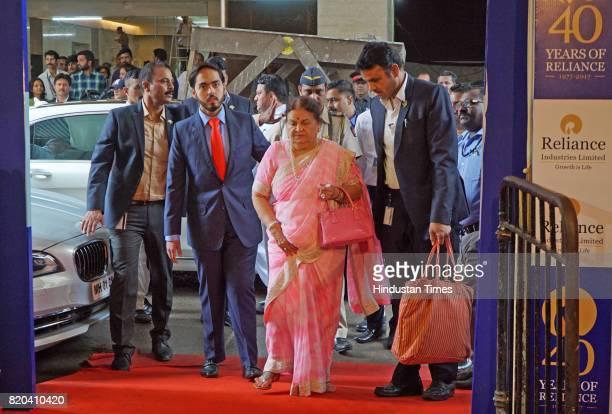 Kokilaben Ambani mother of Reliance Industries Chairman Mukesh Ambani arrives for the 40th AGM of Reliance Industries at Matoshree Hall at Matoshree...